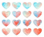 Big set blue pink polygonal Mosaic hearts, Low Poly Style, Valentine card. Vector illustration, great design element for stock photography