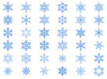 Big set of 36 blue snowflakes. On white vector illustration Royalty Free Stock Image