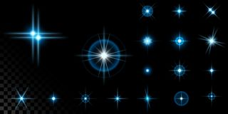 Big set of blue stars on black. Big set of the realistic sparkling blue star fires and flashes on a black transparent background. A vector illustration Royalty Free Stock Photos