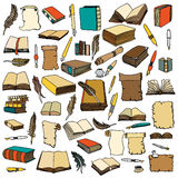 Big Set Books and pen Stock Photography