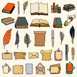Big Set Books and pen Royalty Free Stock Photography
