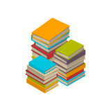 Big set of books, tutorials. Isometric flat vector. Big three stacks of new 3d colorful books and tutorials on a bookshalf. Isometric flat classbooks and Stock Photo