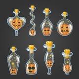 Big set of bottle elixir with Halloween pumpkin. Game design illustration Royalty Free Stock Images