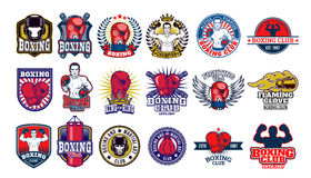Big set boxing badges, stickers isolated on white. Stock Photo