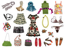 Big set of bright color female clothes Royalty Free Stock Photos