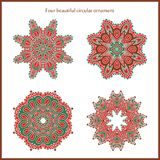 Big set of bright color and vintage circular ornaments. Mandala. Stylized flowers. Vintage Stock Photos