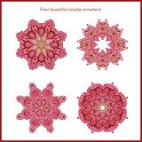 Big set of bright color and vintage circular ornaments. Mandala. Stylized flowers. Vintage Stock Image