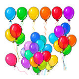 Big set of bright and colorful balloons on white background Stock Images