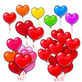 Big set of bright and colorful heart shaped balloons Stock Images