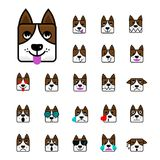 Big set of brown dog flat  cartoon emoticon faces Characte. R of a Dog. Icon pack. Emoji isolated on white background. Vector illustration Stock Images