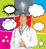 Big Set Of Bubble Speech And Doctor Man Looking Up Stock Images