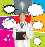 Big Set Of Bubble Speech And Doctor Man Looking Up Royalty Free Stock Images