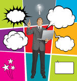 Big Set Of Bubble Speech And Man Looking Up Royalty Free Stock Photo