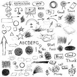 Big set of business components. Black and white sketch hatch, ha Royalty Free Stock Images