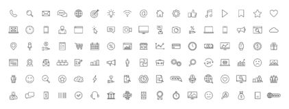 Big set of 100 Business and Finance web icons in line style. Money, bank, contact, office, payment, strategy, accounting,