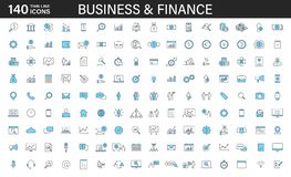 Big set of 140 Business and Finance web icons in line style. Money, bank, contact, office, payment, strategy, accounting,. Infographic. Icon collection. Vector royalty free illustration