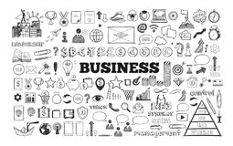 Big set of Business Icons. Vector hand drawn isolated objects. Sketch style Stock Images