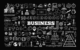 Business Icons set. Big set of Business Icons. Vector hand drawn  objects. Sketch style Royalty Free Stock Photo