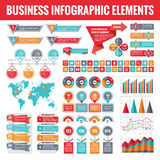Big set of business infographic elements for presentation, brochure, web site and other projects. Abstract infographics templates. In flat style design. Vector Stock Photos