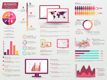 Big set of Business Infographic elements. A big set of various Infographic elements including statistical charts, graphs, bars with digital devices display for Stock Photography