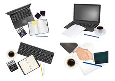 Big set of business and office supplies. Vector Stock Image