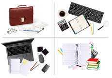 Big set of business and office supplies. Royalty Free Stock Photos
