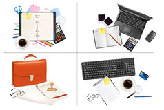 Big set of business and office supplies. Vector Stock Photography