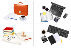 Big set of business and office supplies. Vector. Stock Image