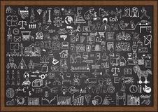 Big set of business situation doodles on chalkboard. Royalty Free Stock Photos
