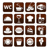 Big set of cafe and restaurant icons. Royalty Free Stock Photo