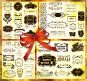 Big set of calligraphic elements for design. Can be used for invitation, congratulation Stock Images