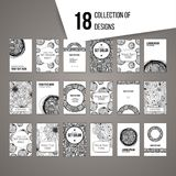 Big set of cards with intricate black and white patterns. Stones and flowers Royalty Free Illustration