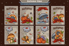 Big set of cards from the vertical colored doodles on theme autumn Stock Photography