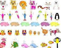 Big set of cartoon animals, vector Royalty Free Stock Photos