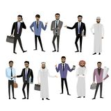Big set cartoon Arab men, in different clothes and character Royalty Free Stock Photos