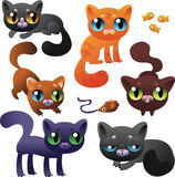 Big Set of Cartoon Cats. With white background Stock Photos