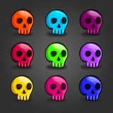 Big set of cartoon colored skulls. Cute illustration for web design Royalty Free Stock Image