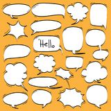 Big Set of Cartoon, Comic Speech Bubbles, Empty Dialog Clouds in Pop Art Style. Vector Illustration stock illustration