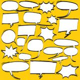 Big Set of Cartoon, Comic Speech Bubbles, Empty Dialog Clouds in Pop Art Style. Stock Images