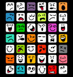Big set of cartoon facial expressions. Many different colorful cartoon facial expressions Royalty Free Stock Images