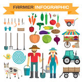 Big set of cartoon farm elements and characters Royalty Free Stock Photos