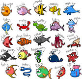 Big set of cartoon fishes,vector Stock Images