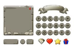 Big set Cartoon grey stone assets and buttons For Ui Game, GUI icons. Big set Cartoon grey stone assets and buttons For Ui Game, vector GUI icons stock illustration