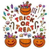 Big set of cartoon Halloween pumpkins, candies and sweets. Trick or Treat. Vector. royalty free illustration
