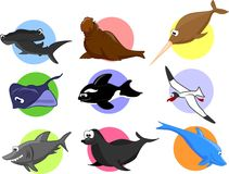 Big set of cartoon marine animals.vector Royalty Free Stock Image