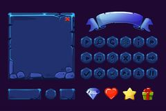 Free Big Set Cartoon Neon Blue Stone Assets And Buttons For Ui Game, GUI Icons Royalty Free Stock Photo - 120277155
