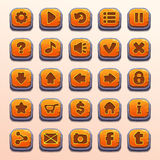 Big set of cartoon orange buttons Stock Image