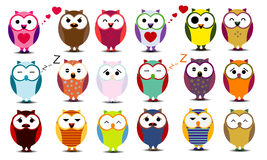 Big set of cartoon owls.  Stock Photography