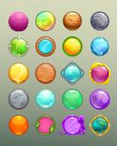 Big set of cartoon round colorful buttons Royalty Free Stock Photo