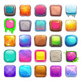 Big set of cartoon square buttons Stock Image